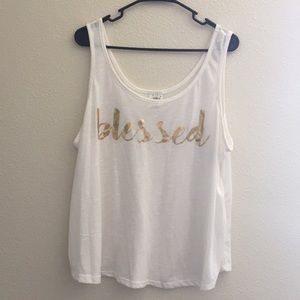 """2X self esteem sheer tank with """"blessed"""" on it"""